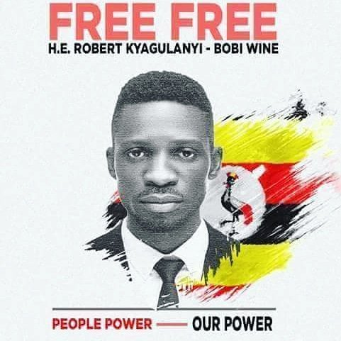 Poster seeks the release of Bobi Wine (Ugandan member of parliament Robert Kyagulanyi)