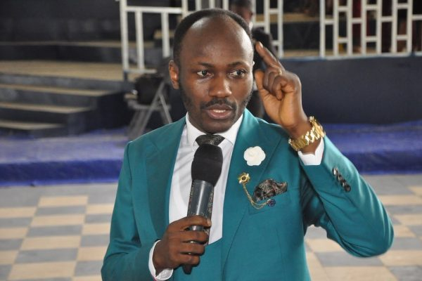 Image result for Apostle Johnson Suleman bans Church members from reading Bible from mobile gadgets