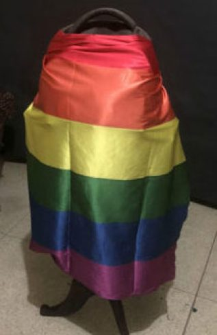 Rainbow flag that Saakya draped around her school bag, which caused outrage at her school. (Photo courtesy of Gay Star News)