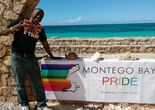 """Maurice Tomlinson poses at Montego Bay Pride, which he organized. The caption on this photo on Facebook rightly labels him """"The fantastic Maurice Tomlinson."""""""