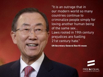 Support for LGBT rights in 2013 from then U.N. Secretary-General Ban Ki-Moon.