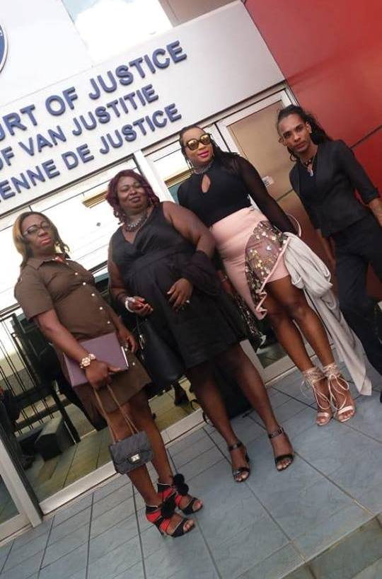 Successful trans appellants in the Guyana cross-dressing case included (from left to right) Angel (Seon) Clarke, Gulliver (Quincy) McEwan, Peaches (Joseph) Fraser and Isabella (Seyon) Persaud . (Photo courtesy of SASOD, U-RAP and TGU)