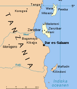 Ten men were arrested Nov. 3 on the Tanzanian island of Zanzibar, which is about 50 miles off-shore from Dar es Salaam, the country's largest city. (Map courtesy of Wikipedia)