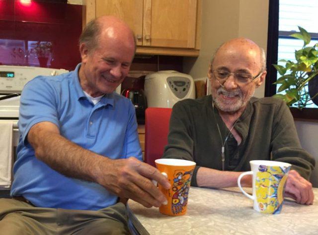 Colin Stewart (left) and Denis LeBlanc chatting in September 2018. (Susan Stewart photo)