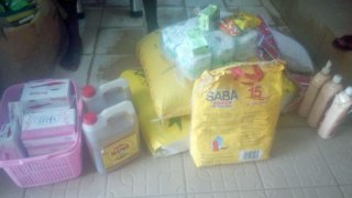 Generous donors paid for this supplementary food and hygiene items which will have to last for two months for three gay prisoners in Cameroon: rice, detergent, pasta, packets of peanuts, cooking oil, sugar, anti-septic soap, bags of tomatoes, tapioca, bleach, shrimp flavor cubes, salt and toilet paper. (Photo by AJFG)
