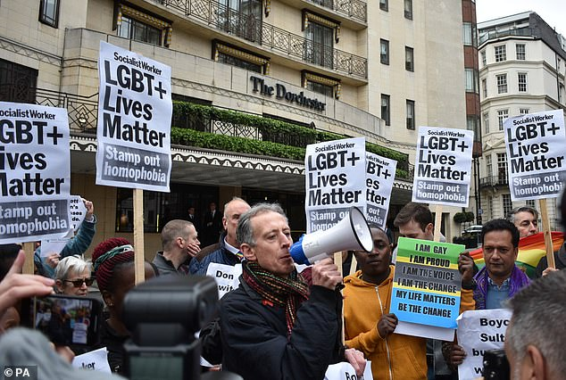 Gay rights activist Peter Tatchell addresses the April 6 protest. (Photo courtesy of the Daily Mail)