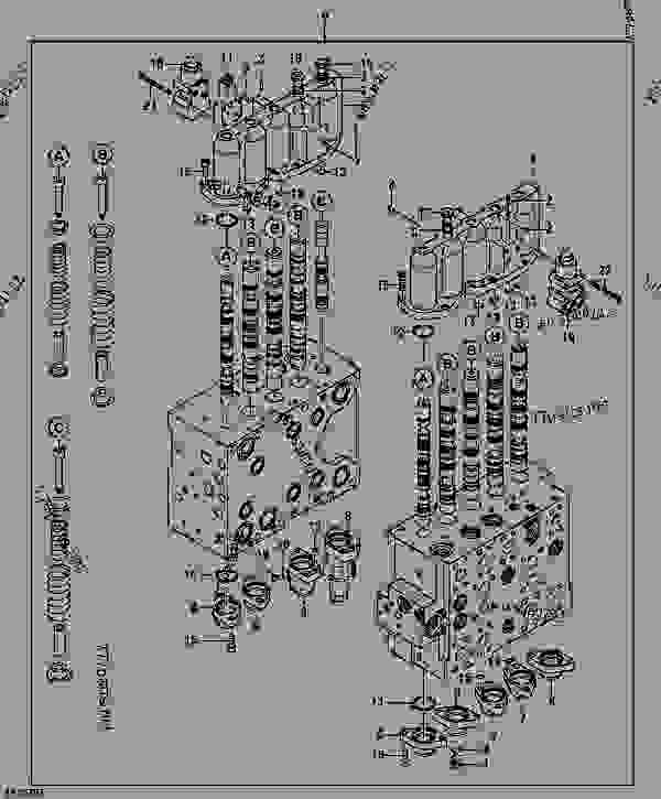 CONTROL VALVE COMPONENTS (FOUR AND FIVE SPOOL SIDES