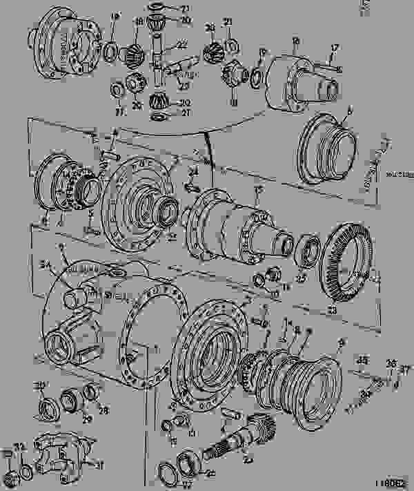 458/70249 Gear, crownwheel/pinion RH, spiral, 13T/38T, M30