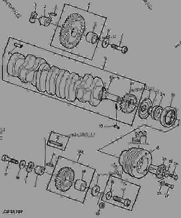 CRANKSHAFT/TIMING GEARS FOR TRACTOR W FRONT PTO [22