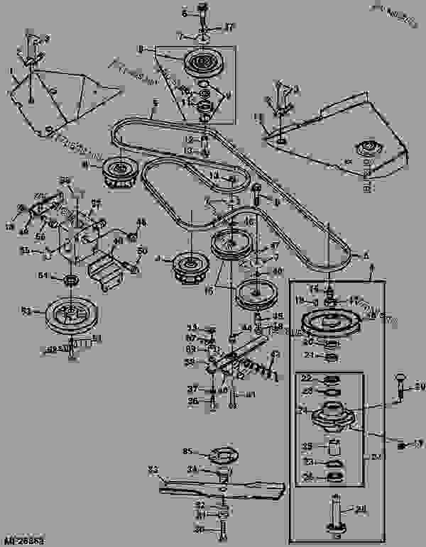 John Deere 54c Mower Deck Parts : deere, mower, parts, MOWER, DRIVE, BELT,, SHEAVES,, SPINDLES, BLADES, (DECK, M04272X), ATTACHMENT,, MID-MOUNT, ROTARY, MOWER,, DECKS,, 3-BAG, (2210, SERIES, CUTS), Deere