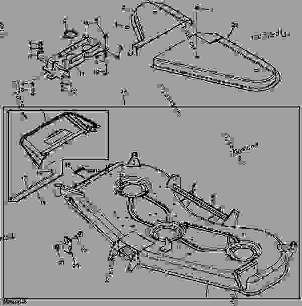 MOWER DECK AND DISCHARGE CHUTE (EXPORT) (DECK SN M00072D