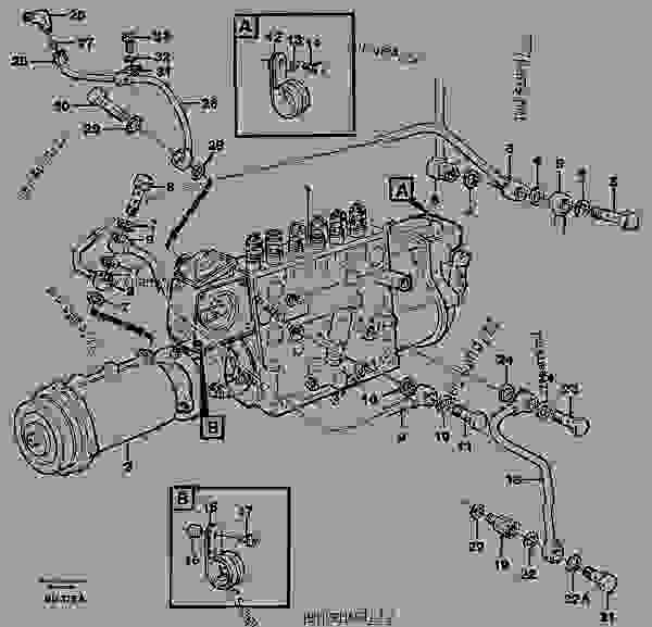 Fuel injection pump, Oil pipes and vacuum hose