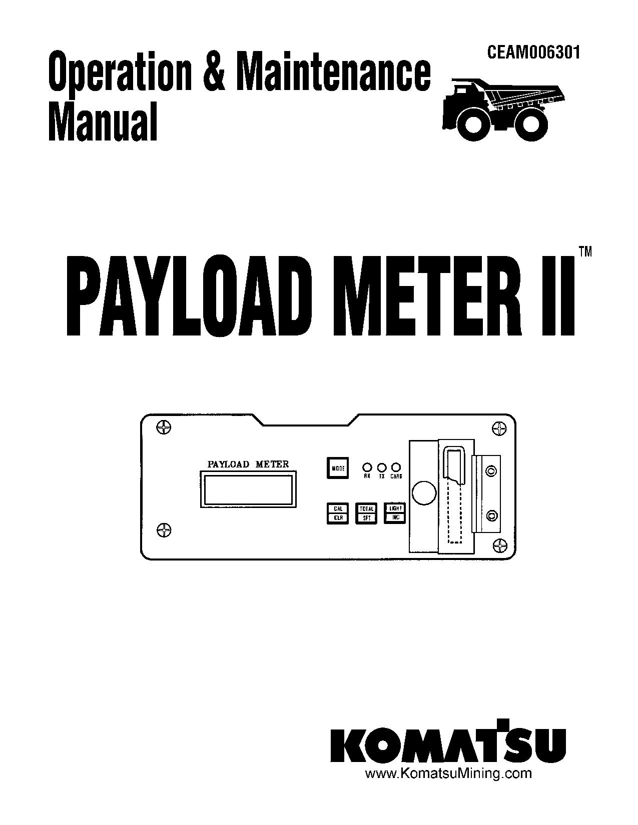 Komatsu PLM II Operation and Maintenance Manual