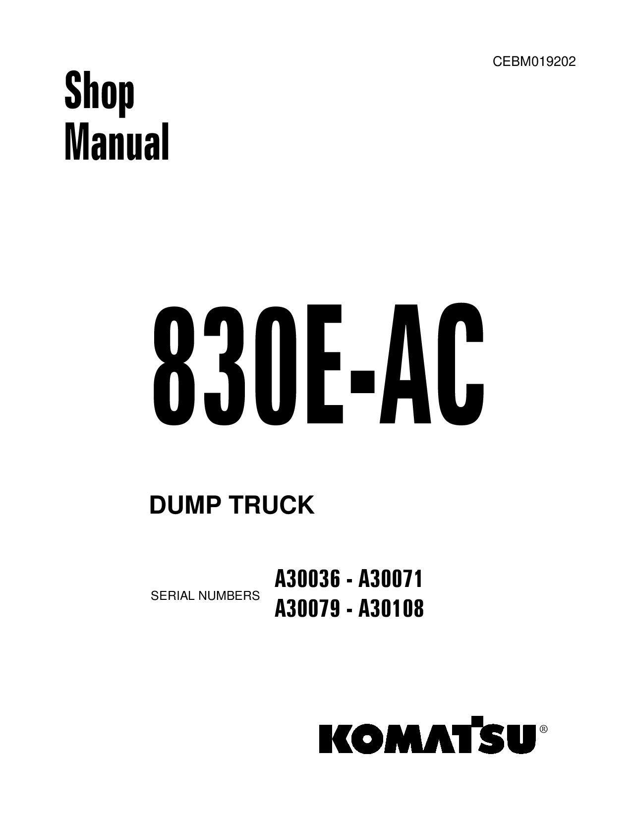 Komatsu 830E-AC Operation and Maintenance Manual