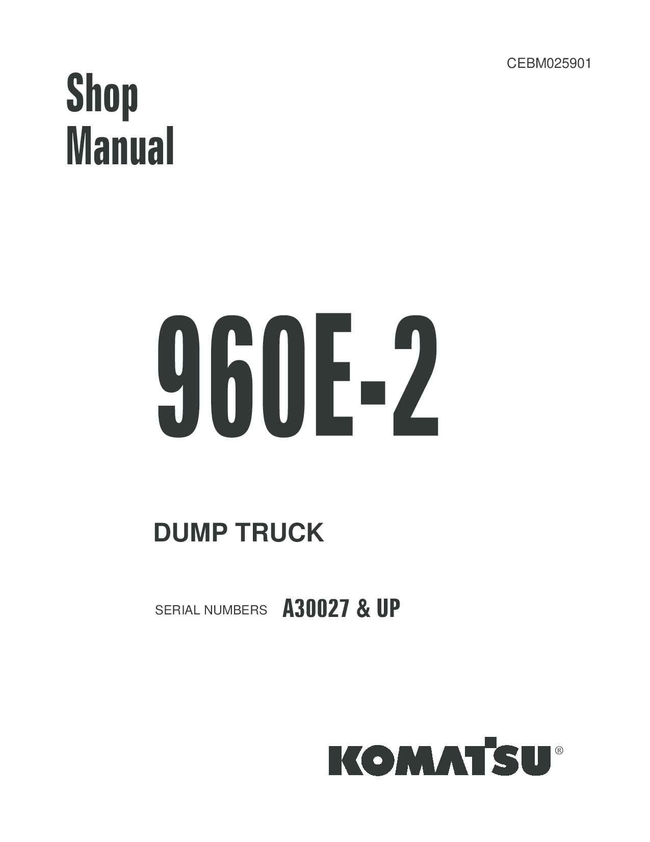 Komatsu 960E-2 Operation and Maintenance Manual