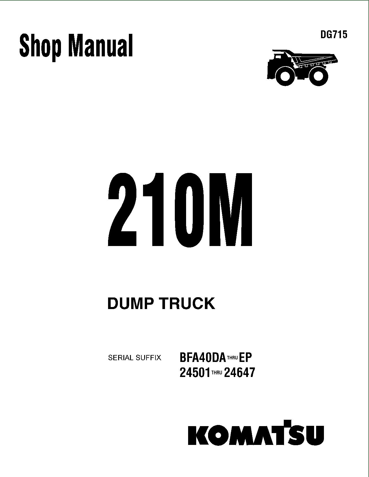 Komatsu 210M Operation and Maintenance Manual