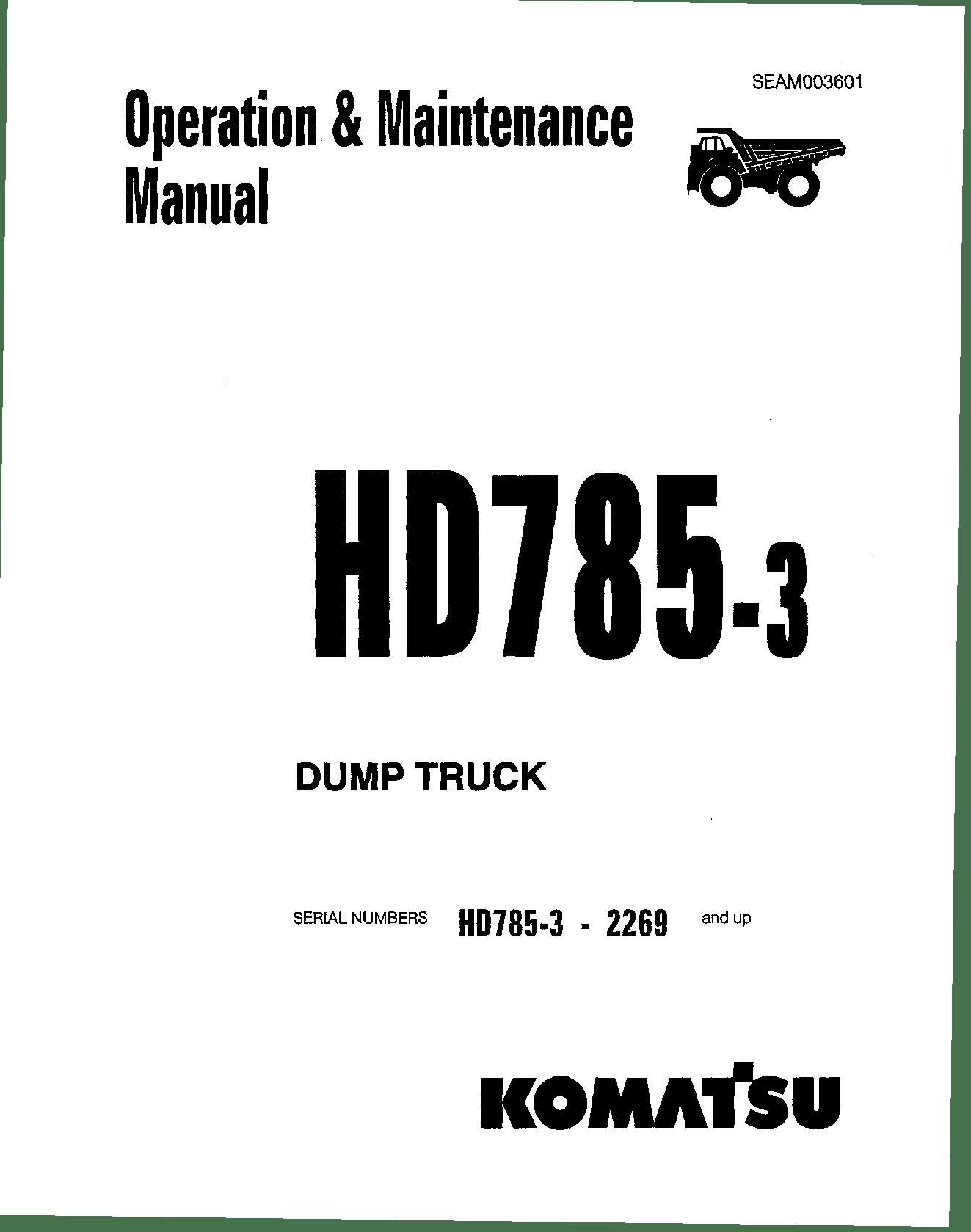 Komatsu HD785-3 Operation and Maintenance Manual