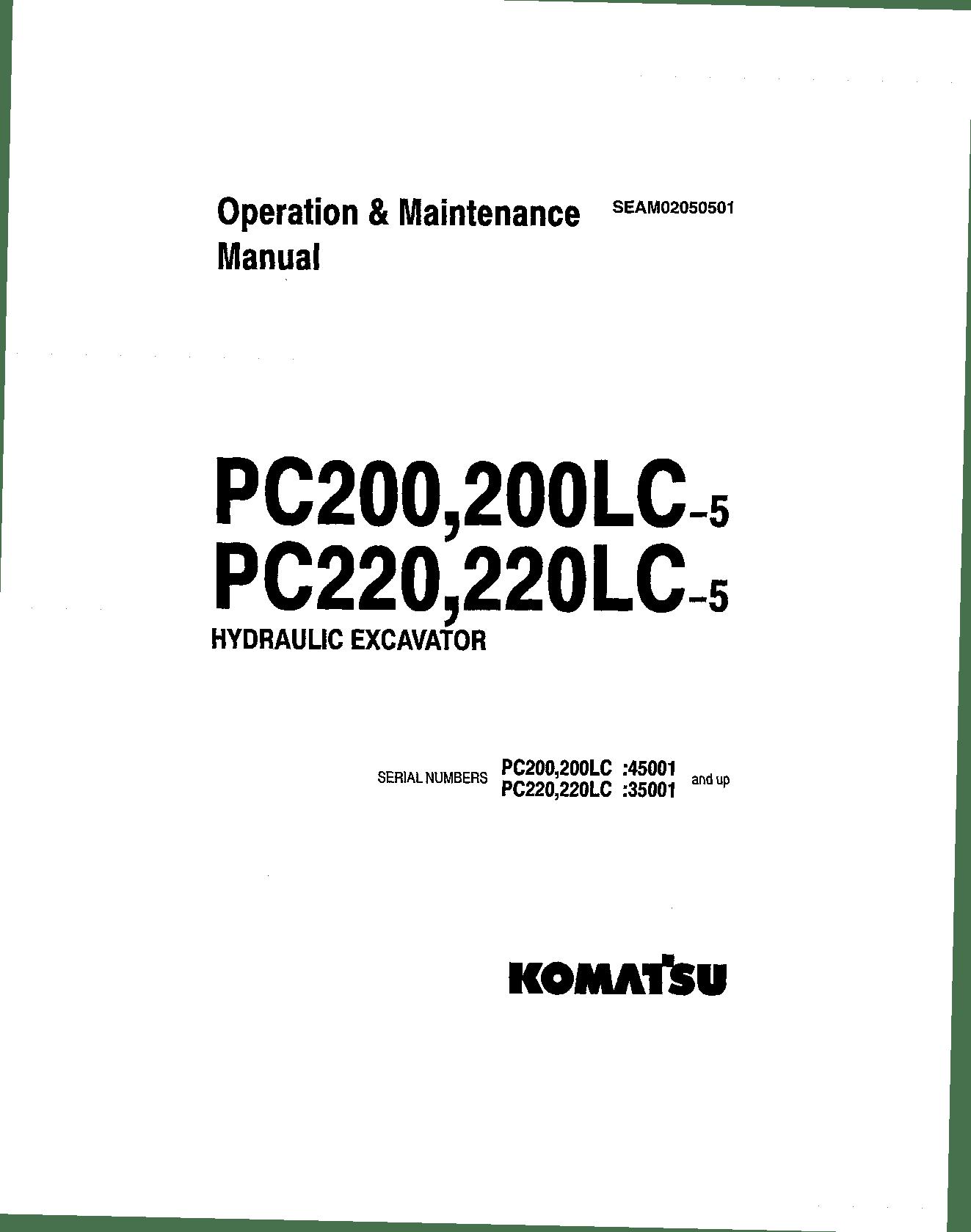 Komatsu PC200-5 Operation and Maintenance Manual