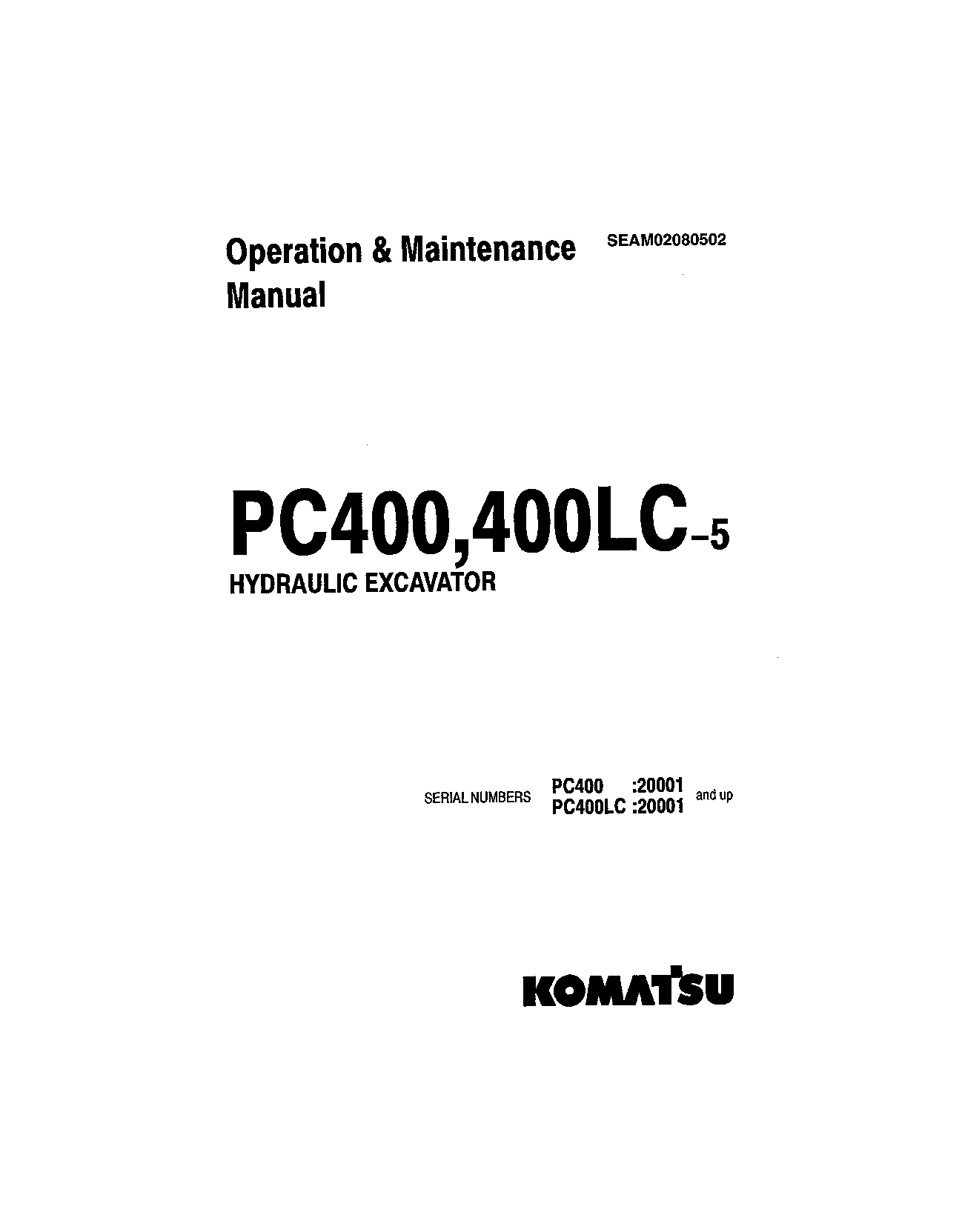 Komatsu PC400LC-5 Operation and Maintenance Manual