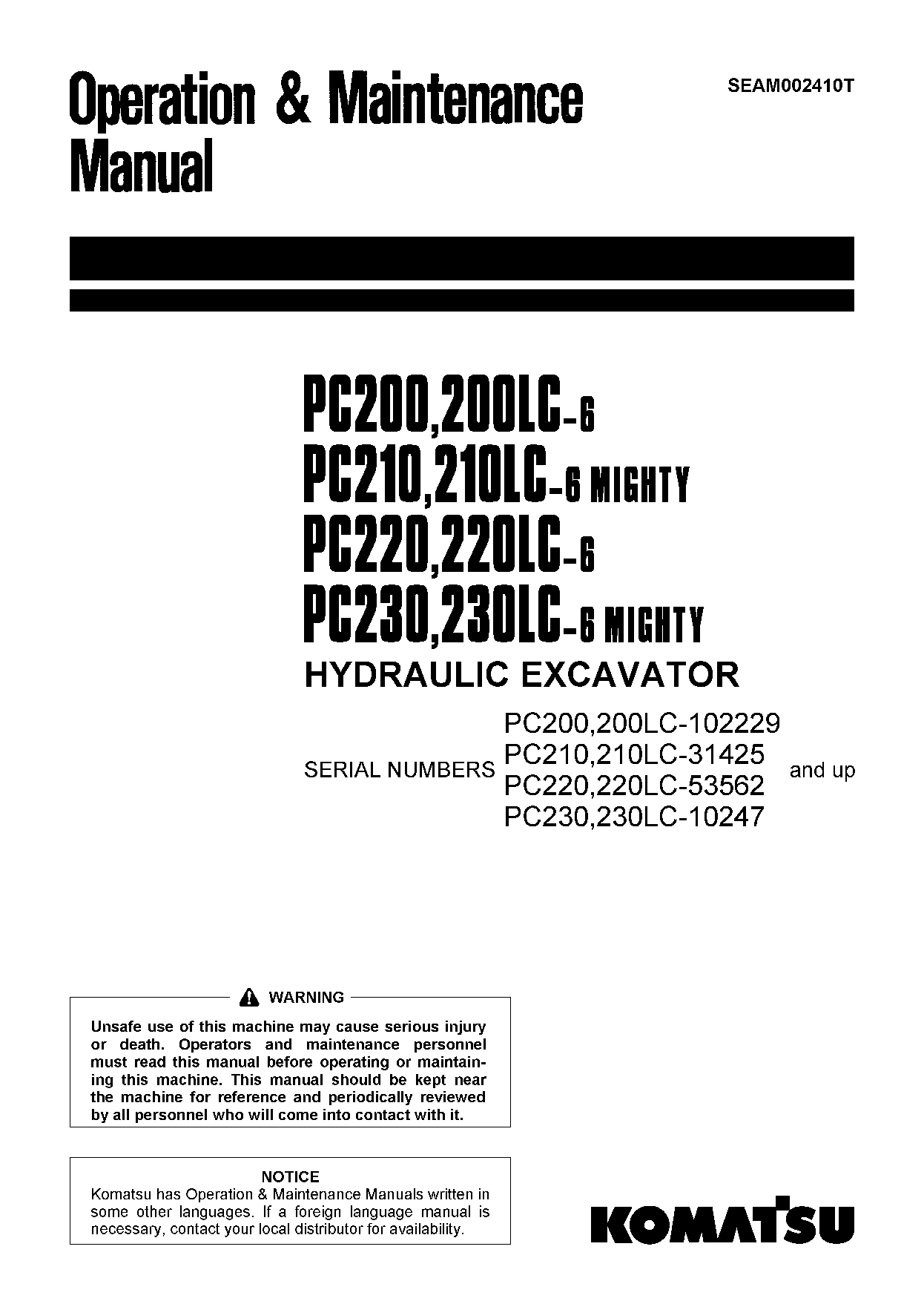Komatsu PC200-6 Operation and Maintenance Manual