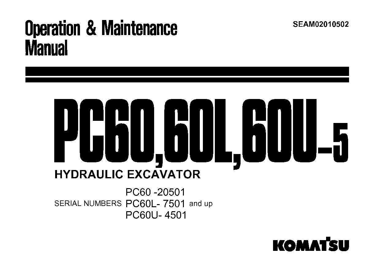 Komatsu PC60L-5 Operation and Maintenance Manual