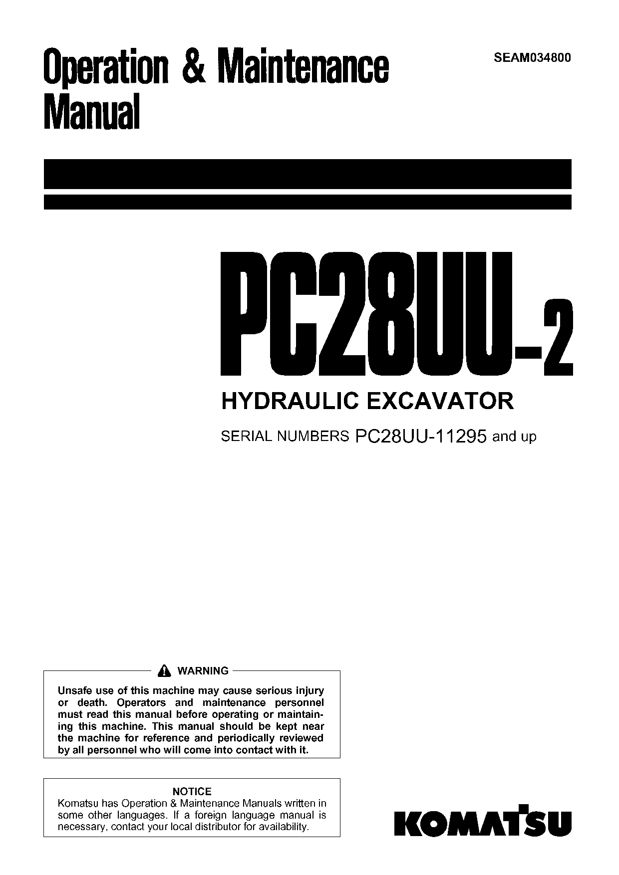 Komatsu PC28UU-2 Operation and Maintenance Manual