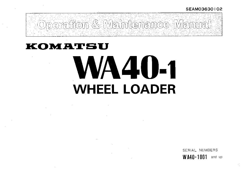 Komatsu WA40-1 Operation and Maintenance Manual