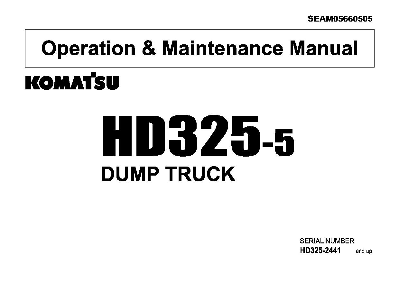 Komatsu HD325-5 Operation and Maintenance Manual