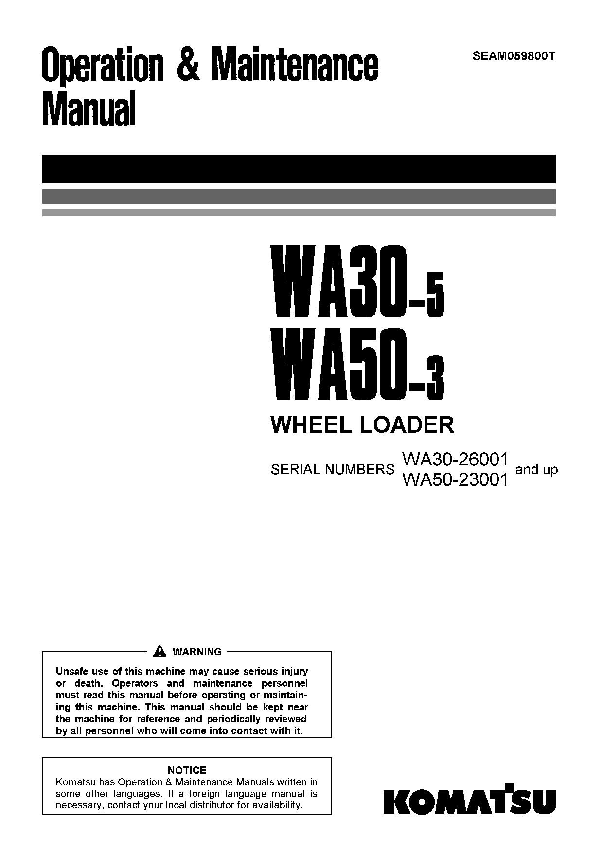 Komatsu WA50-3 Operation and Maintenance Manual