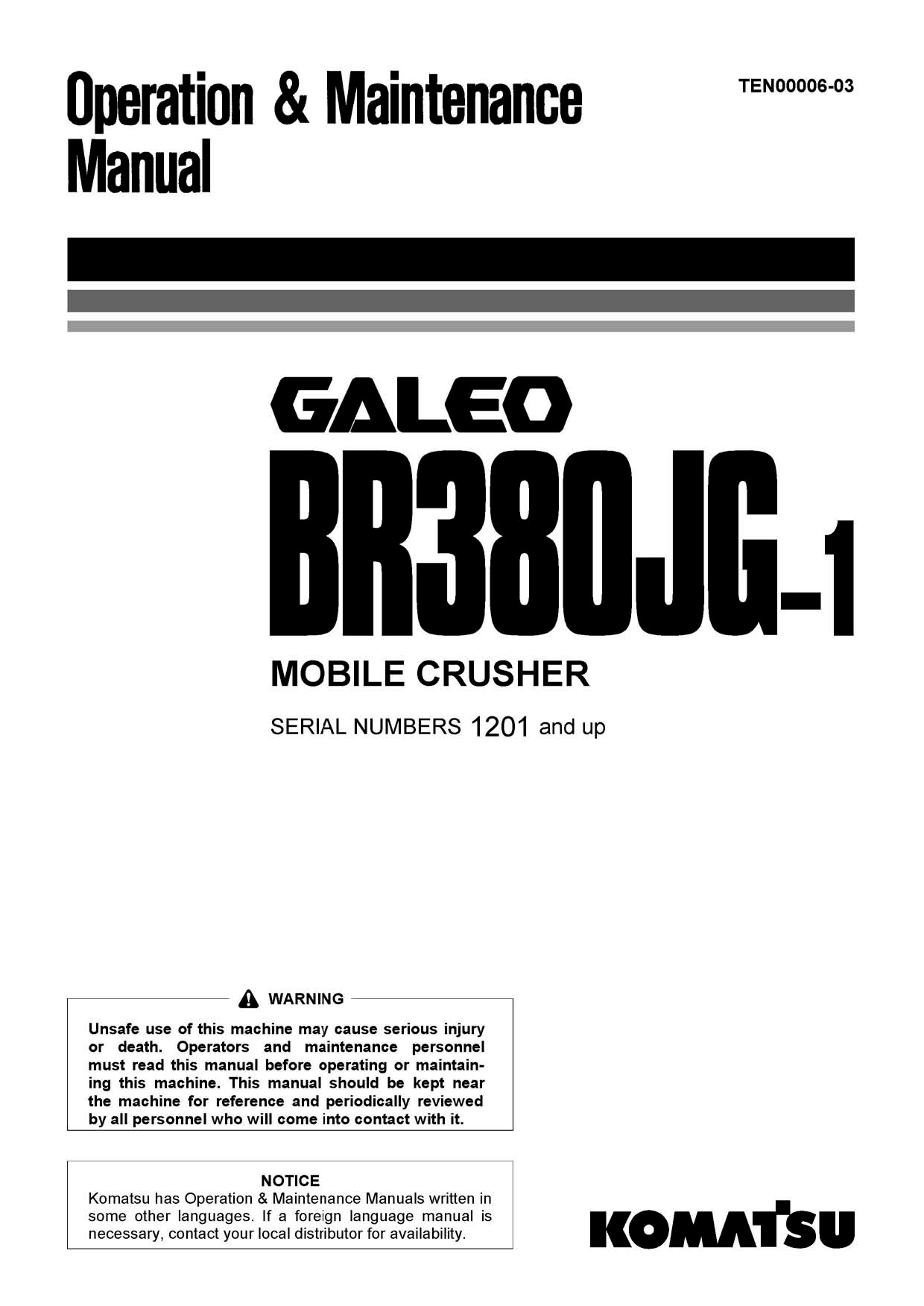 Komatsu BR380JG-1 Operation and Maintenance Manual