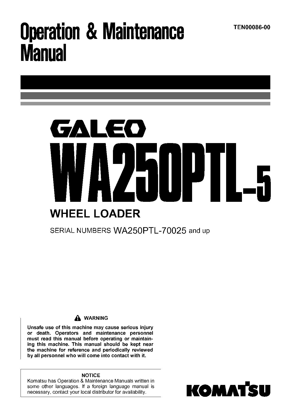 Komatsu WA250PTL-5 Operation and Maintenance Manual