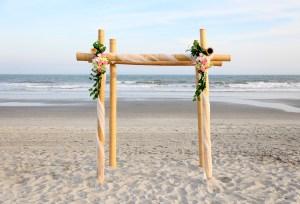 Bamboo wedding arch in Myrtle Beach