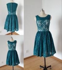 New Teal Lace Short Bridesmaid Dresses 2016 Vintage ...