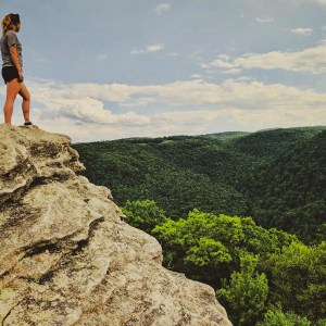 Jessica rock climbing photo.