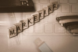 Image of scrabble pieces spelling marketing.