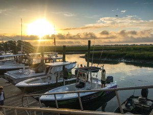 A Week Away. Photograph of boats docked at sunrise in the marina.