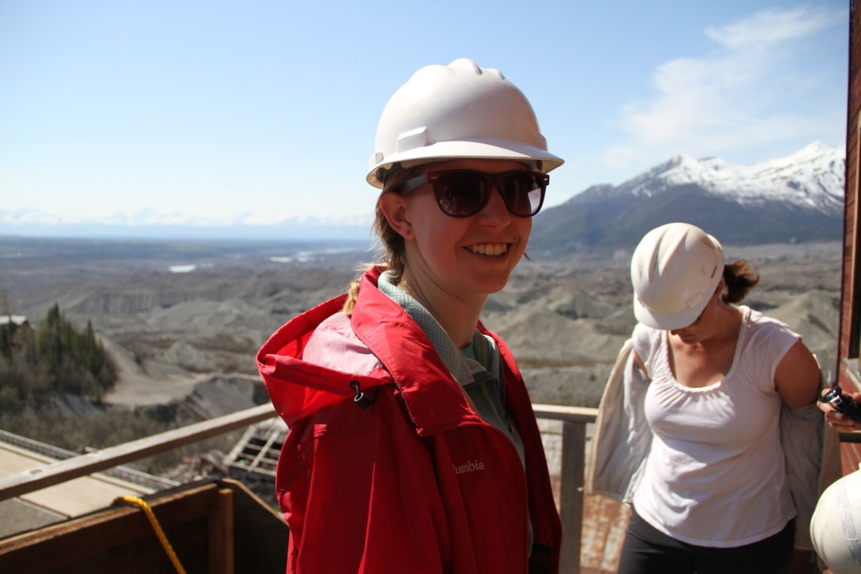 Riley wearing a hard hat while touring the Kennecott Copper Mine