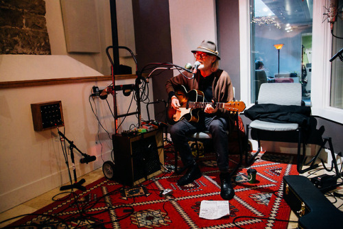 Day 5: Mike Coykendall, from portland, plays a set while the snow pours down outside Sunday morning. AS