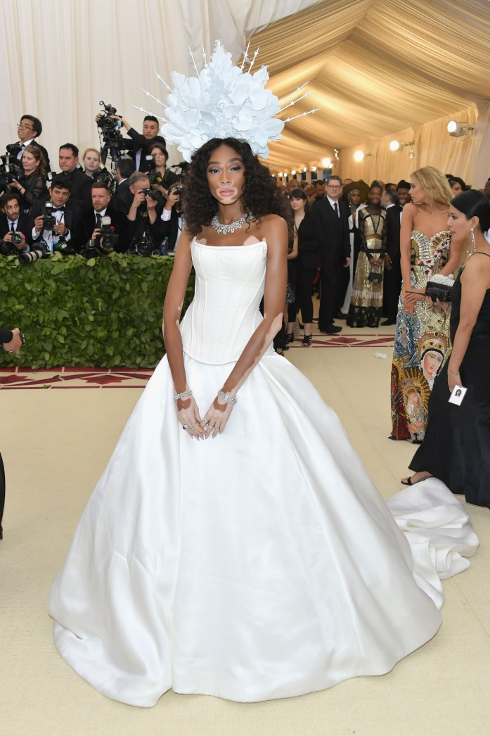 Winnie Harlow attends the 'Heavenly Bodies: Fashion & The Catholic Imagination' Costume Institute Gala at The Metropolitan Museum of Art in New York City (May 7, 2018).