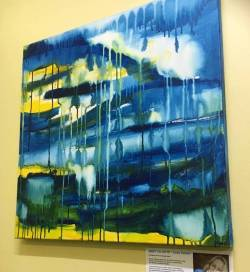"""""""Cathedrals"""" is currently for sale and available to view at Fremantle physiotherapy.#abstractart #perthart...........#art#artshow #perthcreatives#perthartist #colour #paintings #abstract #carveouttimeforart #artworks #artsy #fremantle #studioscenes #creativityfound #createart #blues #artforsale #design #interiors #interiors   (at Fremantle Physiotherapy Centre)"""
