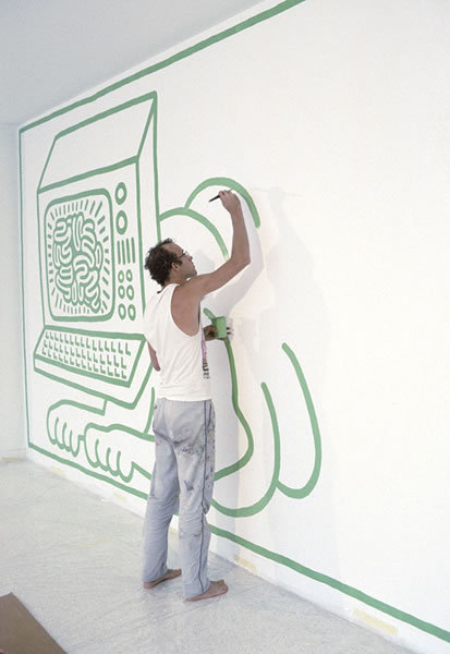 Keith Haring Installing His Mural In The Wal Rb