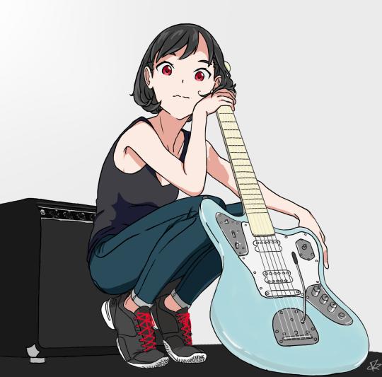 Girl Playing Guitar Anime Bass