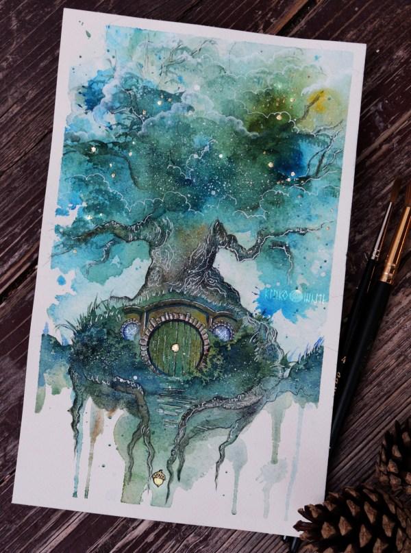 Kinko-white Oak Tree Watercolor Ink Gold