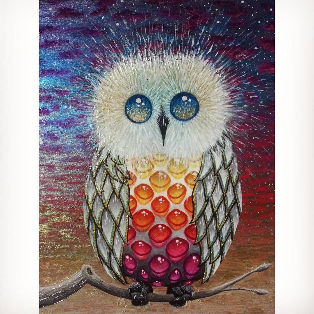Wild Ward Designs  Bright Owl 6x8 acrylic on wood WildFievel