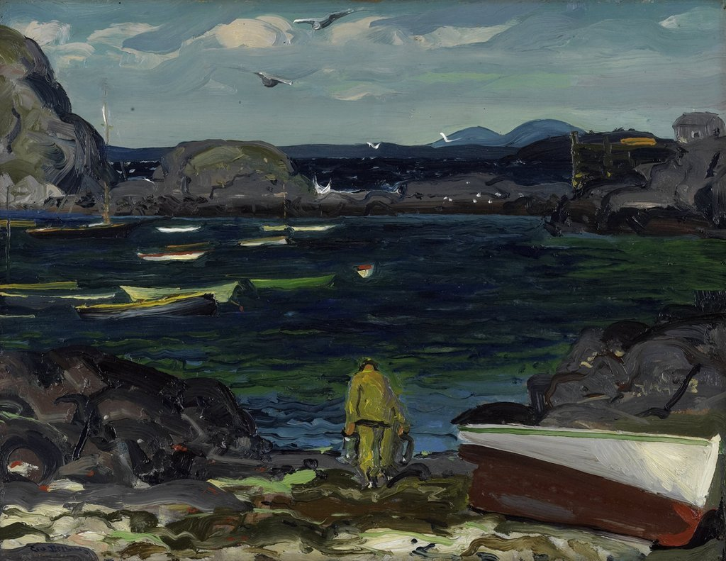 "huariqueje: "" The-Harbor-Monhegan-Coast-Maine - George Bellows, 1913 American,1882-1925 Oil on panel, 38.1 × 49.53 cm (15 × 19.5 in) """