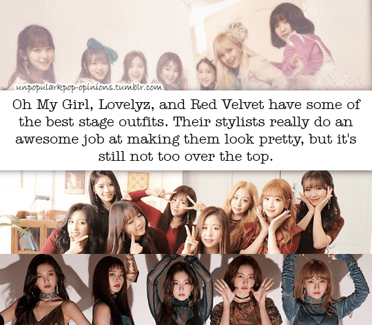 oh my girl lovelyz and red velvet has some of kpop fan