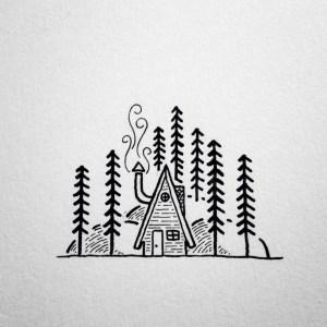 line simple drawing cabin frame rollyn david