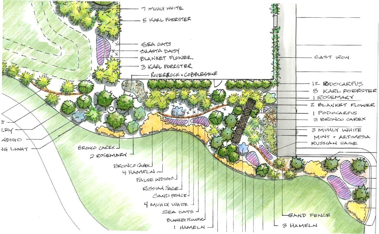 Hand Rendered Landscape Design For A Restaurant In