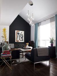 A matte black accent wall is a stunning living... | Design ...