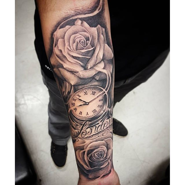 Street City Tattoos  Roses  Pocket Watch Did this